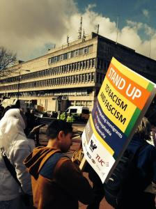 Demonstrators at Stand Up to Racism and Facism, Cardiff, 22 March 2014