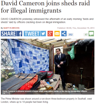 News coverage of Prime Minister 'beds in sheds' immigration raid, image used in our focus group.