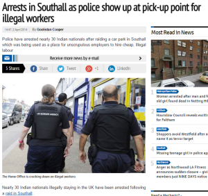 News coverage of immigration enforcement raids in Southall, used in our focus group