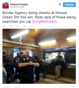 Image of immigration enforcement raid circulated on Twitter, July 2013, used in our focus group.