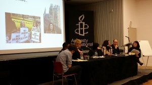 Detention Forum Salon February 2015. L-R Ben du Preez, Aderonke Apata, Hannah Jones, Kirsten Forkert, Harley Miller, Ian Dunt, Eiri Ohtani. Photo courtesy of The Detention Forum.