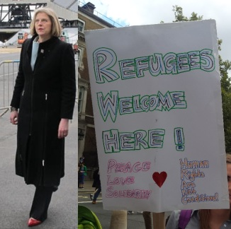 Theresa_May_visits_Olympic_Park_2011 - refugees welcome here