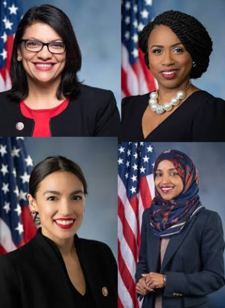 Images of the four Congresswomen attacked by Trump, clockwise from top left: Rashida Tlaib, Ayanna Pressley, Ilhan Omar, Alexandria Ocasio Cortez